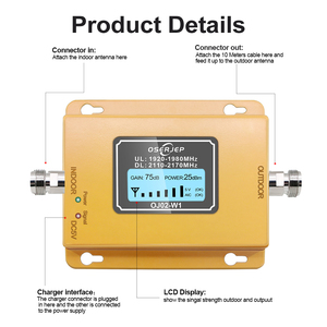Image 3 - 70db 3g 2100 مكرر هاتف محمول مكرر إشارة المحمول 2100MHz إشارة الداعم مكبر للصوت LCD LTE WCDMA UMTS دروبشيبينغ