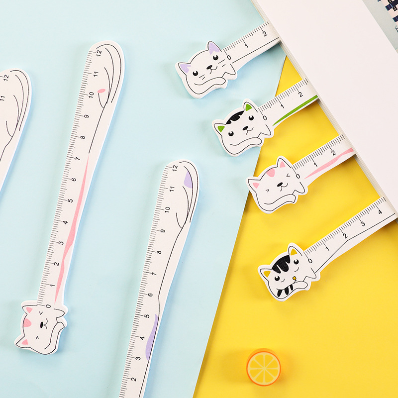Creative Cartoon Cat Wooden Ruler Painting Measuring Straight Ruler Tool Promotional Gift Stationery