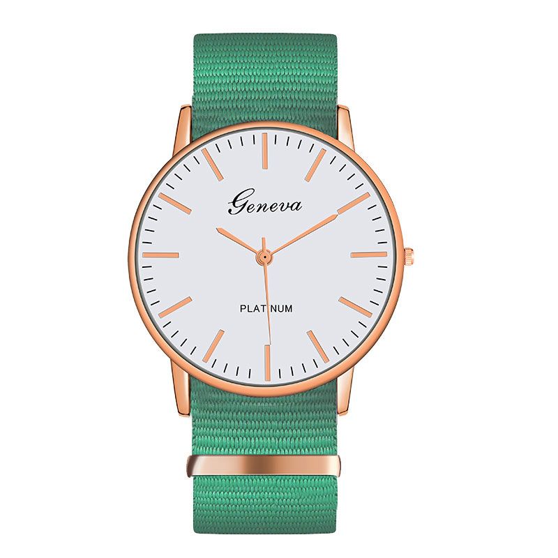 Exquisite Simple Nylon Strap Women Watches Luxury Fashion Quartz Wristwatches Geneva PLATINUM Woman Clock Montre Femme