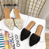 Lace Slippers Ladies Pointed Toe Shoes Summer Slides Indoor Shoes Women Mules Slides Fashion Female Flat Sandals