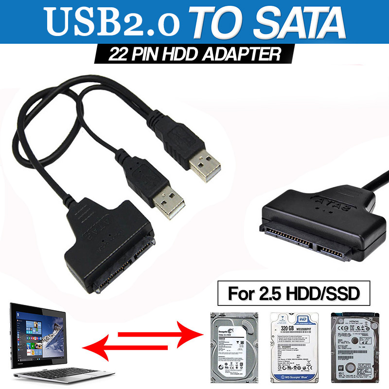 SATA TO USB Hard Drive Cable 2.5 Inches External HDD USB/Hard Drive Adapter USB2.0 TO SATA Adapter Hard Disk 22 PIN SATA Cable