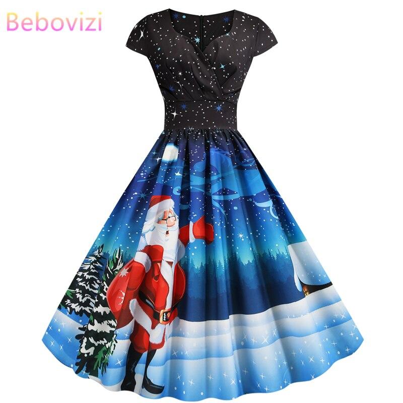 Bebovizi New Women Clothes 2019 Christmas Dress Casual Winter Plus Size Vintage Vestidos Santa Claus Print Elegant Party Dresses