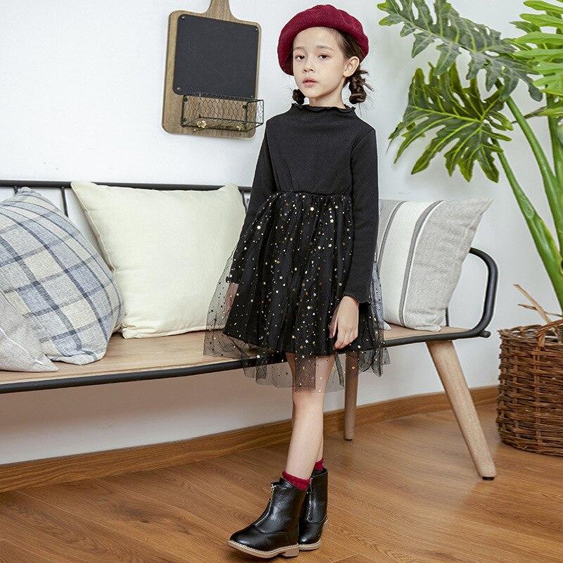 Осенне зимнее платье для девочек 2019 г. Корейское детское платье пачка принцессы со звездами костюм принцессы для подростков