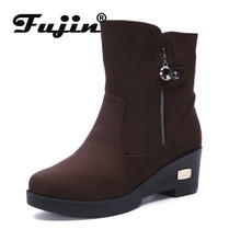 Fujin 2019 Winter Warm Boots Cotton Shoes Women Breathable and Side Zipper Snow Fashion