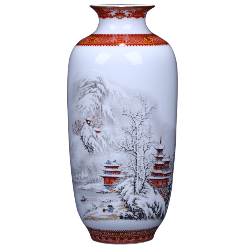 Antique Jingdezhen Ceramic Vase Eggshell Vase Desk Accessories Crafts Snow Flower Pot Traditional Chinese Style PorcelainVase