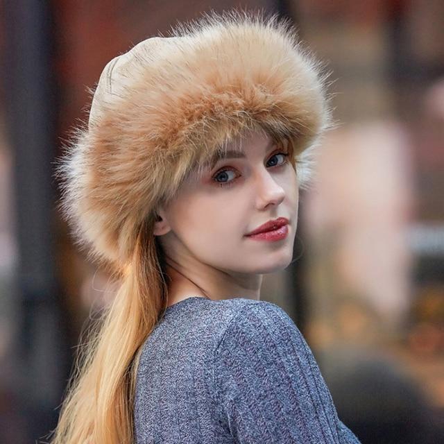 Chapeau de bombardier en daim pour femmes | Chapeau épais chaud russe, chapeau coupe-vent en fourrure de mongolie pour femmes, bonnet Skullies en fourrure de renard HT2849