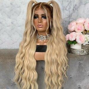 Европейский прозрачный эффектом деграде (переход от темного к Грейс волна Синтетические волосы на кружеве человеческих волос парики с детс...