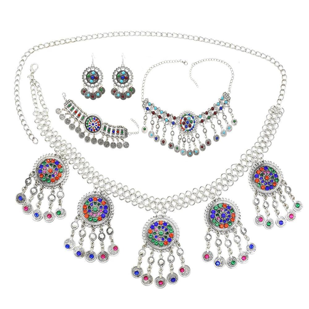 Chains-Sets Bracelets Necklace Earrings Indian Jewelry Tassel Gypsy Turkish Belly-Dance