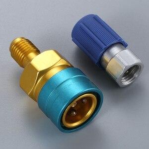 Image 1 - R12 ~ R134a 어댑터 로우 사이드 R1234yf 퀵 커플러 블루 로우 사이드 R 134a 서비스 포트 캡