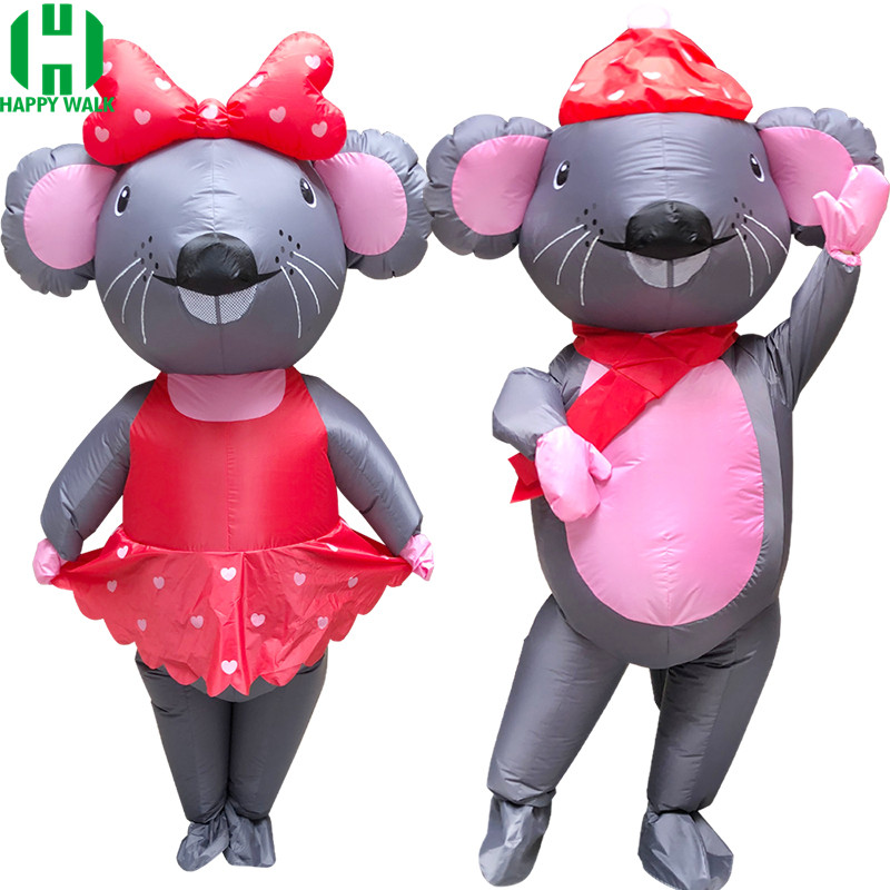 New Adult Couple Mouse Inflatable Costumes Animal Rat Christmas Halloween Christmas Cosplay Costume Party Masquerade Performance image