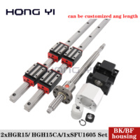 HANPOSE HGR15 Linear Guides +Ball Screw Support BK/BF12+1 Ball SFU1605 Any Length for cnc Clutch in Emergency