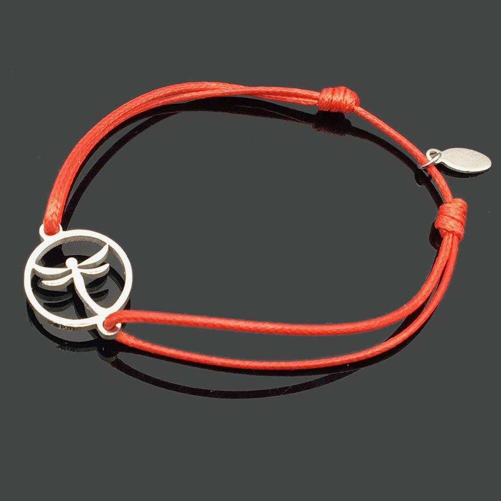 2 шт браслет желаний из нержавеющей стали, регулируемый шнур, хороший браслет, приносящий удачу, красный браслет дружбы - Окраска металла: stainles dragonfly