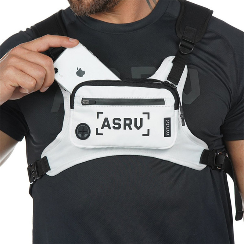Running Bag Sport Chest Rig Vest Men Gym Training Waist Pack Hip Hop Streetwear Tactical Phone Holder Fitness Accessories Bag