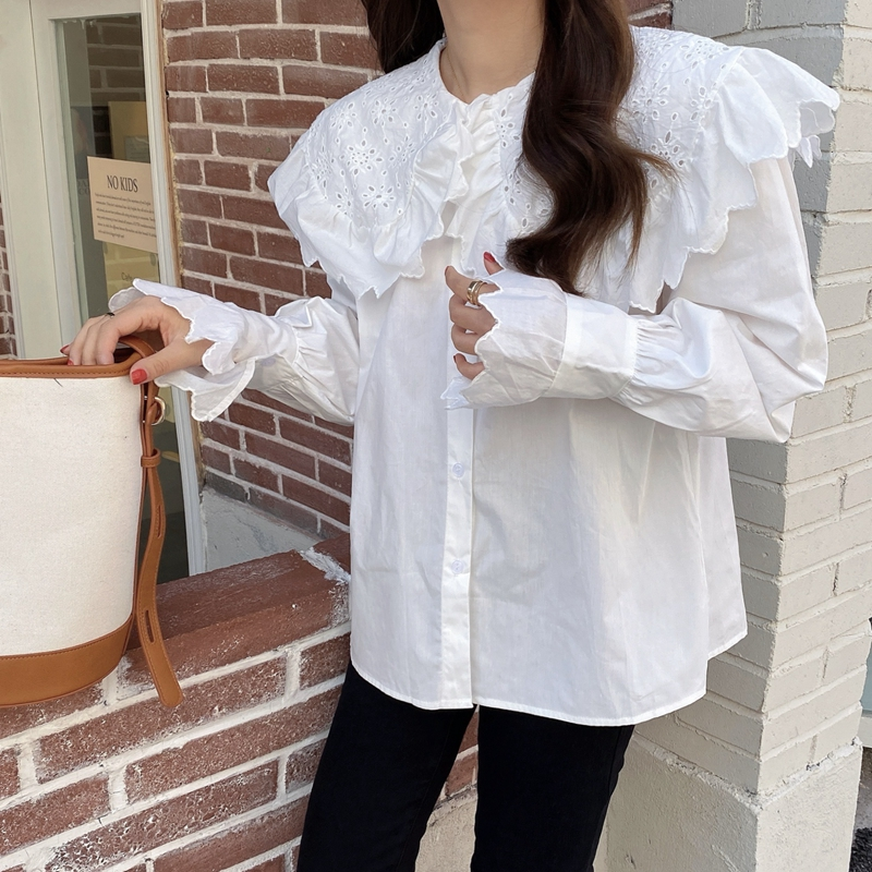H0bd337b9c48a48329d5f1a8a22e128ccE - Spring / Autumn Hollow Out Big Lapel Collar Puff Sleeves Loose Solid Blouse