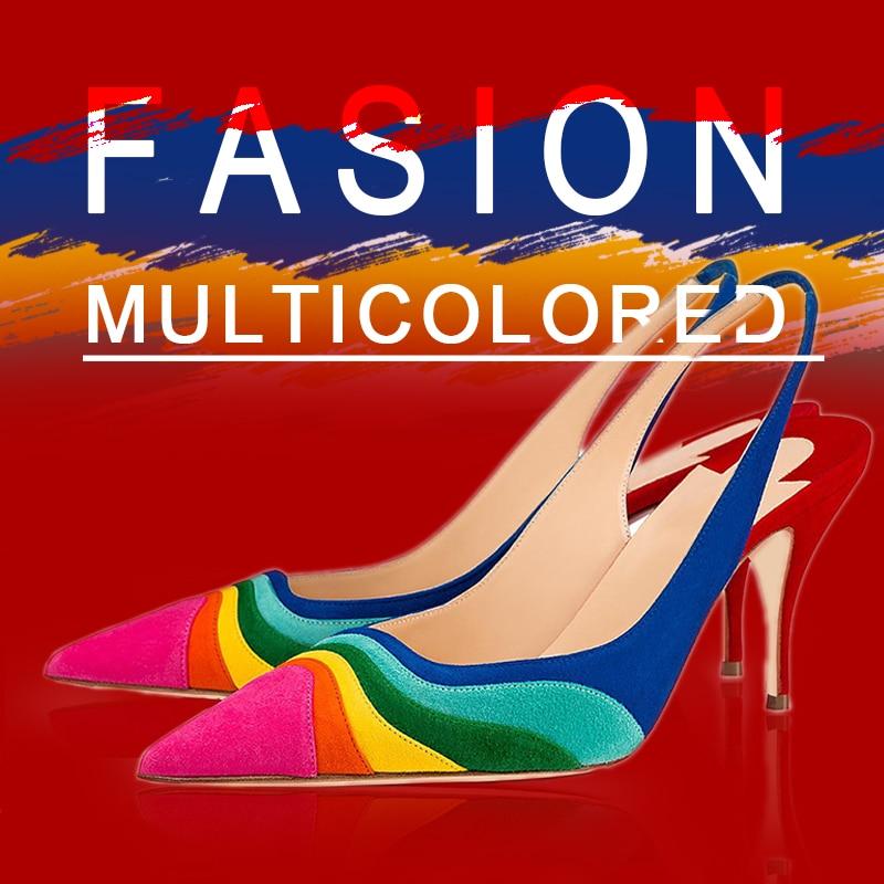 Multicolored Kitten Slingbacks Heels Pumps Open Back Blue Purple Ladies Formal Evening Shoes Woman Pointed Toe Size 15 16 Shofoo