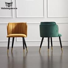 цена на Modern Formal Dinning Chairs Creative Solid Wood Makeup Chair European Fabric Office Meeting Office Shop Chair Furniture