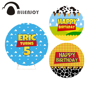 Allenjoy Clouds Decor Happy Birthday Round Backdrop Cover Cartoon Child Baby Shower Customize Background Photocall Circle Banner