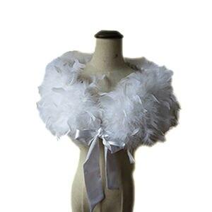 Image 3 - Prawdziwe 100% strusia futro z futra okłady Bolero stałe wesele szal czarny biały kobiety zima różowy Cape chronić ramię S72