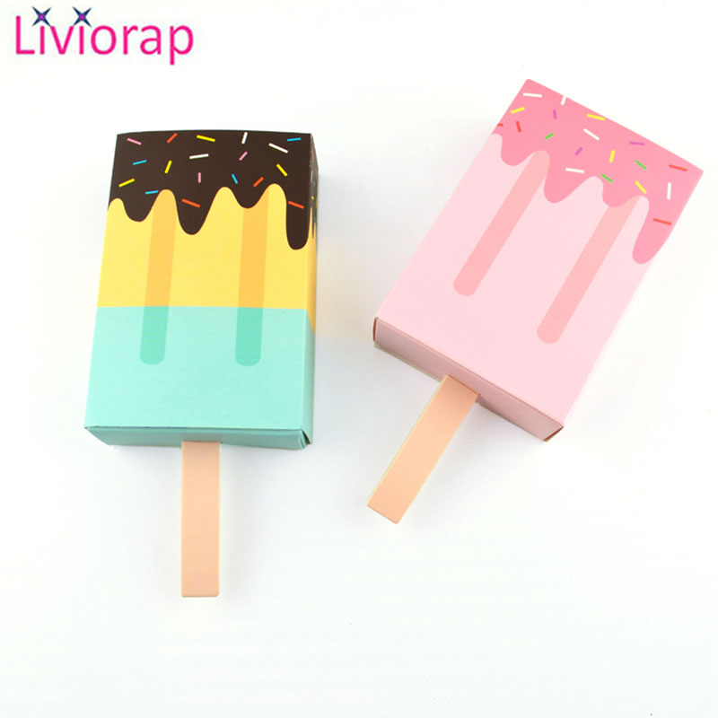 Liviorap 5/10Pcs Ice Cream Shape Gift Boxes Baby Shower Party Candy Box Baby Boy Girl Pink Blue Birthday Party Decorations Kids