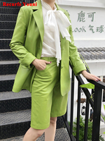 2 Piece Suits Women Quality Genuine Leather Jacket Female Chic Blazer and pant Set Green Camel Shorts Conjuntos Femininos Coat