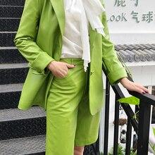 2 Piece Suits Women Quality Genuine Leather Jacket Female Chic Blazer and pant Set Green Camel Shorts Conjuntos Femininos Coat