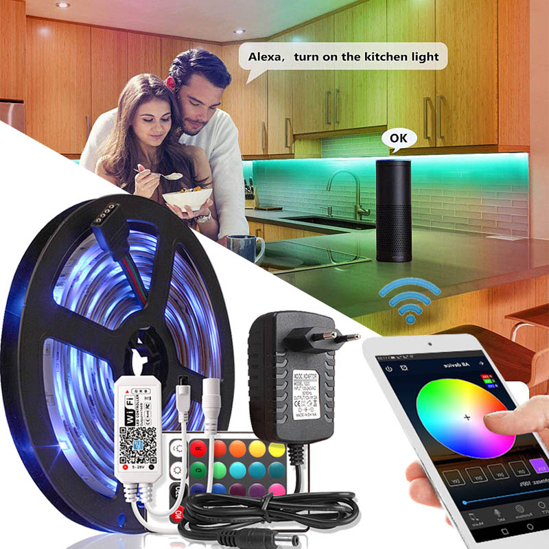 15M LED Strip WiFi Controller with 24Keys Remote Home Decor Holiday Lights fita LED Strip RGB Tape Waterproof Indoor Lighting
