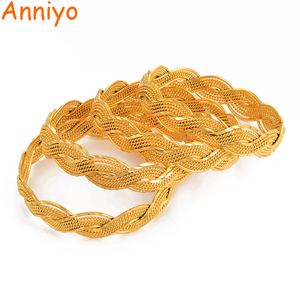 Image 2 - Anniyo 4Pieces Twisted Bracelet for Women Dubai Bangles Ethiopian Bangles African Jewelry Arab Middle East #216506