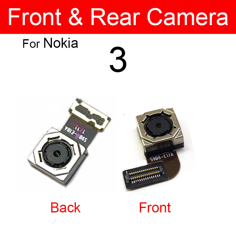Front Back Rear Camera Module For <font><b>Nokia</b></font> <font><b>3</b></font> TA-1020 TA-<font><b>1028</b></font> TA-1032 TA-1038 Small Facing Camera + Main Camera Replacement Parts image