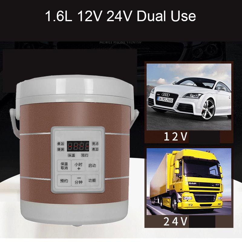 12V 24V Mini Rice Cooker Car Truck Soup Porridge Cooking Machine Food Steamer Electric Heating Lunch Box Meal Heater Warmer