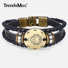 12 Zodiac Sign Horoscope Men's Leather Bracelet Vintage Retro Charm Wristband Male Jewelry Gifts for Men Leo Cancer Aries LBM136