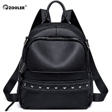 купить Large Leather Backpack Black Genuine Leather backpack Female Capacity School Bag Simple Shoulder Bags for Women Mochila дешево