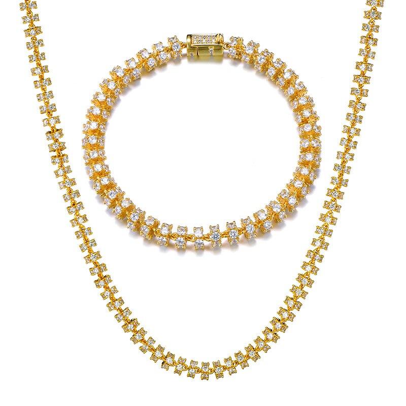 6MM ensemble Bling AAA CZ zircon cubique glacé rond lien chaîne collier Bracelet pour hommes Hip Hop rappeur bijoux 18 ''-24''