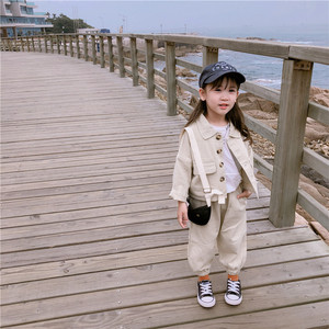 Image 3 - 2019 Autumn New Arrival Korean style cotton clothing sets casual jacket with harlen long pants fashion suit for baby girls boys