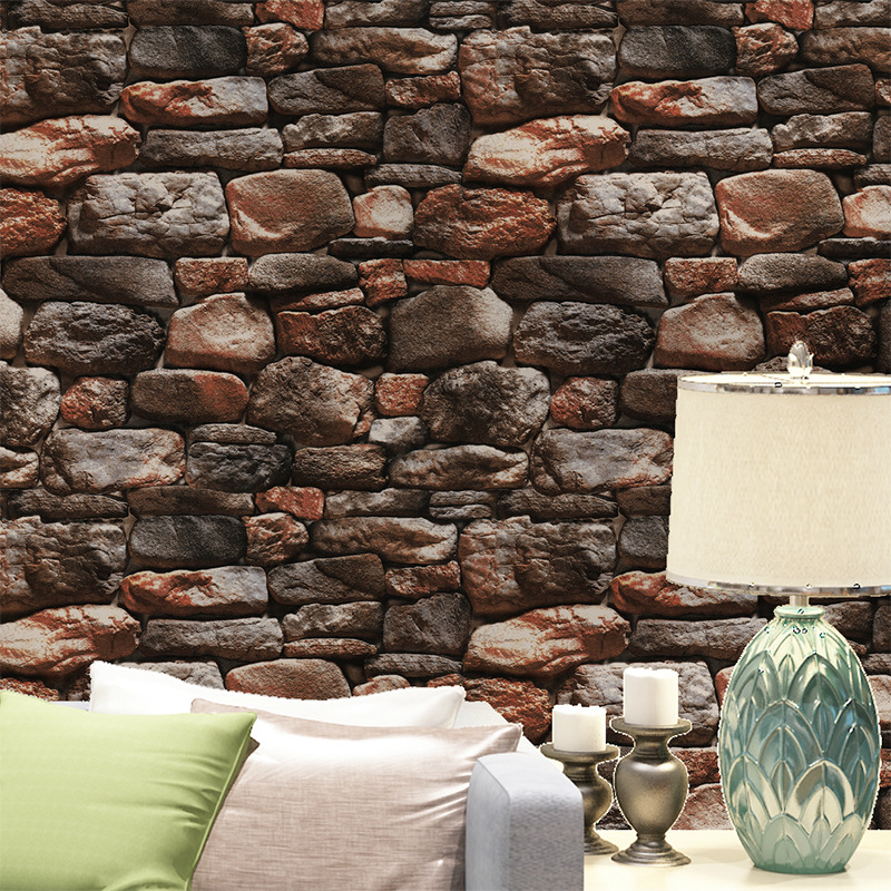 Modern Chinese Style 3D Artificial Stone Wallpaper Retro Stone Stones Cool Wallpaper Wholesale