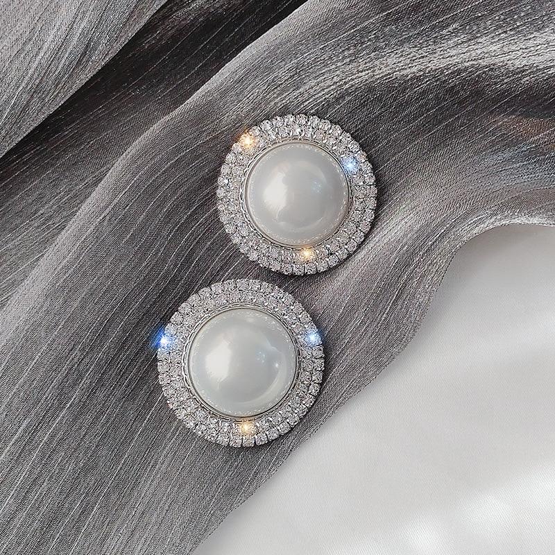 Exknl Big Simulated Pearl Stud Earrings for Women Girl Round Geometric Rhinestone Earrings Party Weddings Earrings Jewelry Gifts