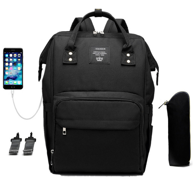Bolsa de pañales de maternidad de momia de moda bolsa de pañales impermeable con mochila de viaje de cochecito USB bolso de lactancia de varios bolsillos para el cuidado del bebé