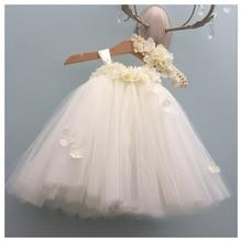 Vestido blanco de hortensia para niña, vestido de boda con cuello redondo sin mangas, vestido de Navidad, princesa mullida, tutú de cumpleaños para niña