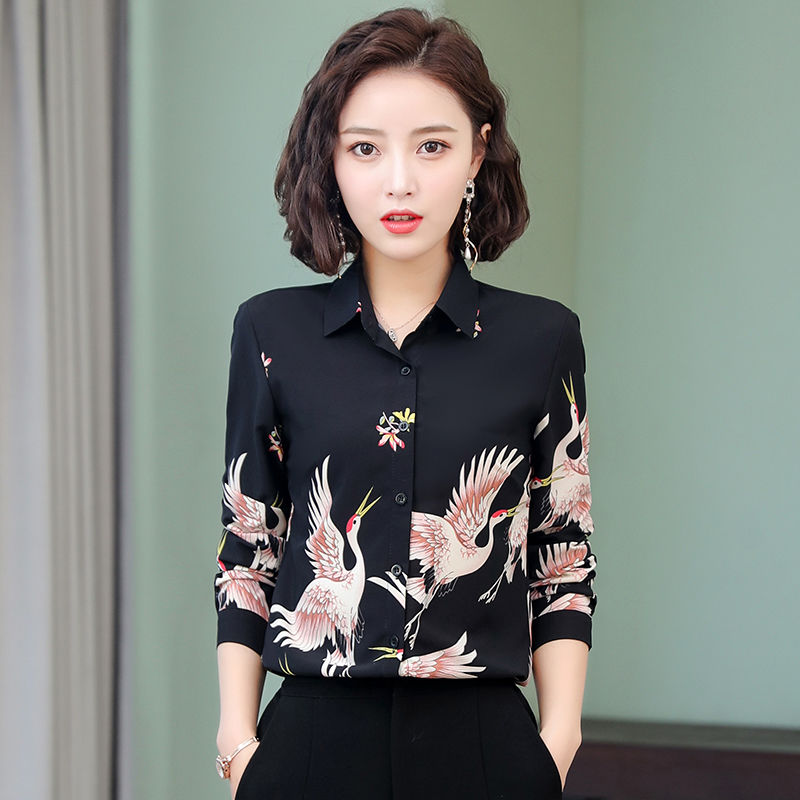Women's Spring Summer Style Chiffon Blouses Shirts Women's Printed Button Turn-down Collar Printed Casual Tops SP567 7