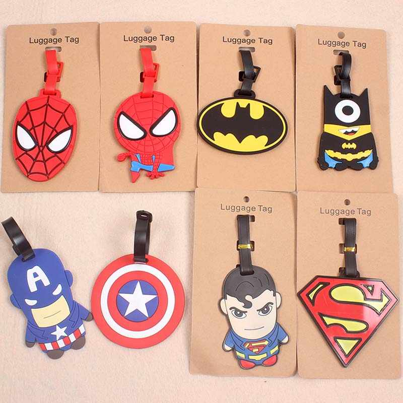 Cartoon Batman/Spiderman Bagage Reizen Accessoires Tag Silicagel Koffer Id Addres Houder Bagage Boarding Tag Draagbare Label