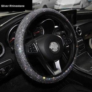 Image 3 - Luxury Crystal Purple Red Pink Car Steering Wheel Covers Women Girls Diamante Rhinestone Car Covered Steering Wheel Accessories