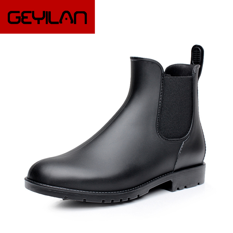 Men Rain boots man Chelsea boots male Ankle boots men Casual Boots Men rubber rain shoes Waterproof Best-selling style 015 image
