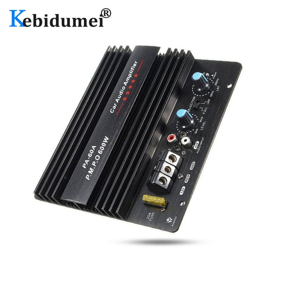 Detectorcatty 12V Mono 600W High Power Car Audio Amplifier PA-60A Fashion Wire Drawing Powerful Bass Subwoofers Amplifier with 20A Fuse