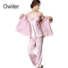Owiter Silk Pyjamas Sleepwear 3 Pieces Pajama Sets Women's Sexy Lace Lingerie Wedding Robes