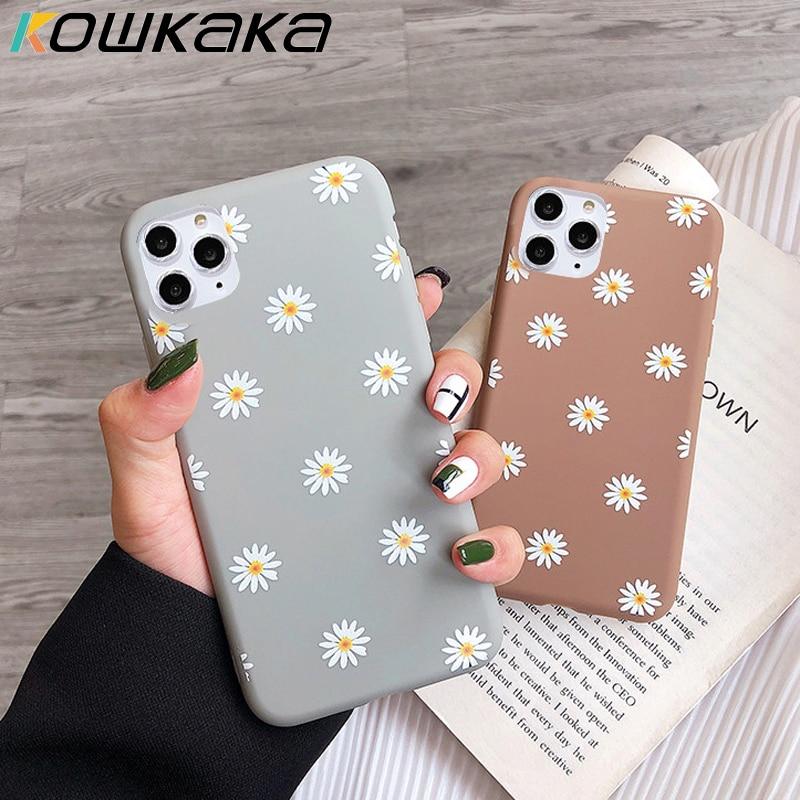 Kowkaka Cute Cartoon Daisy Phone Case For iPhone 11 Pro X XR XS Max 6 6s 7 8 Plus SE 2020 Soft Flower Love Heart Fundas Cover