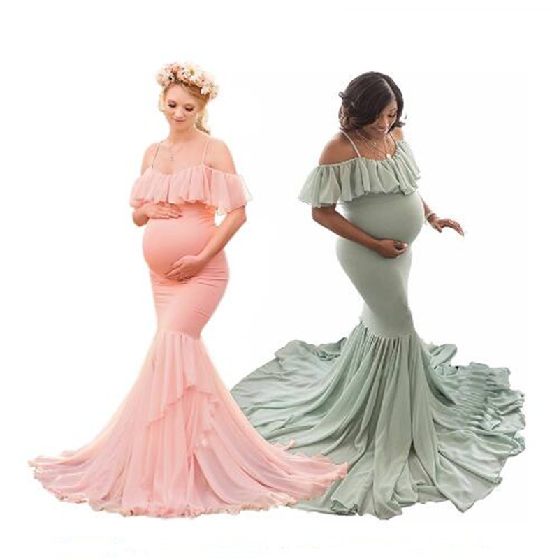 Maternity Dress Photography Sling Off Shoulder Chiffon Cotton Long Pregnancy Fish Tail Dress Baby Shower Dress For Photoshoot
