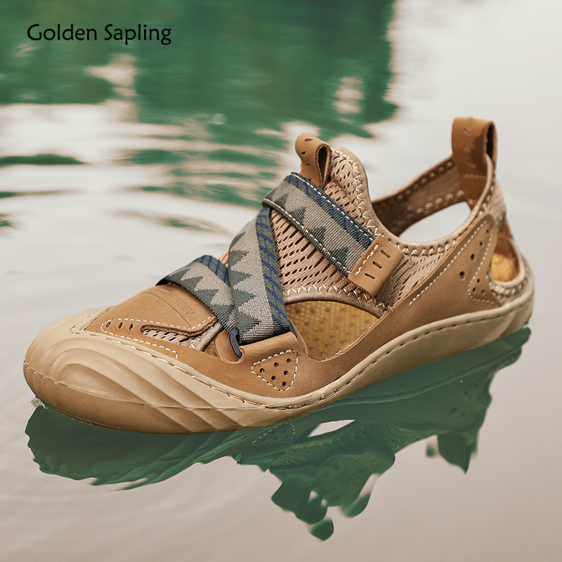 Golden Sapling Summer Sneakers Men Breathable Hollow Design Outdoor Shoes Light Weight Mountain Trekking Men's Sneaker for Hking