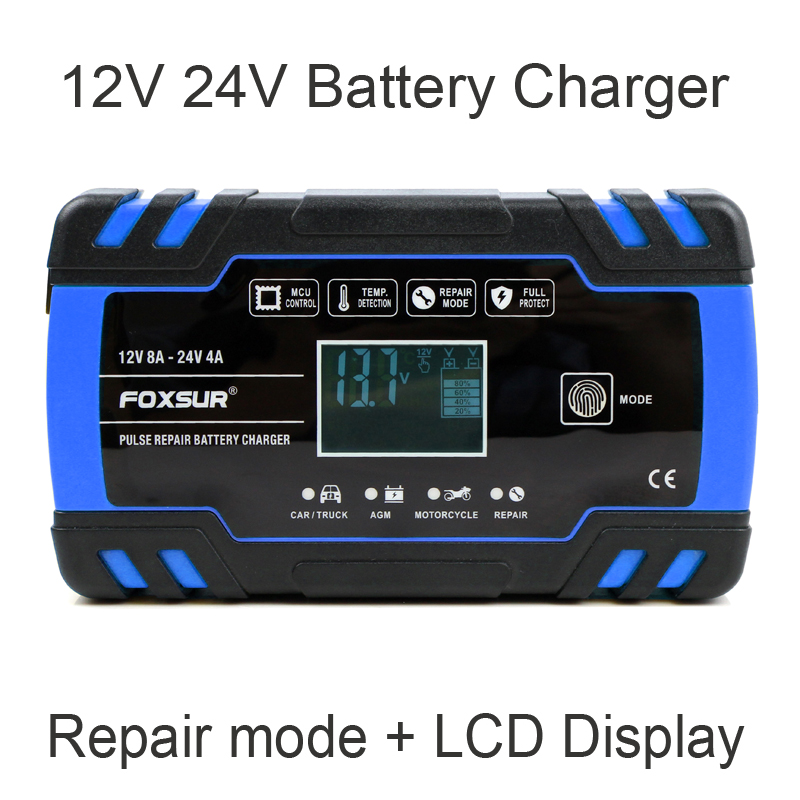 FOXSUR 12V 24V 8A Car Motorcycle Battery Charger Lead Acid AGM GEL WET Smart Battery Charger Pulse Repair Battery Charger