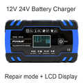 Foxsur 12V 24V 8A Auto Motorfiets Acculader, Lood-zuur Agm Gel Nat Smart Battery Charger, puls Reparatie Batterij Oplader