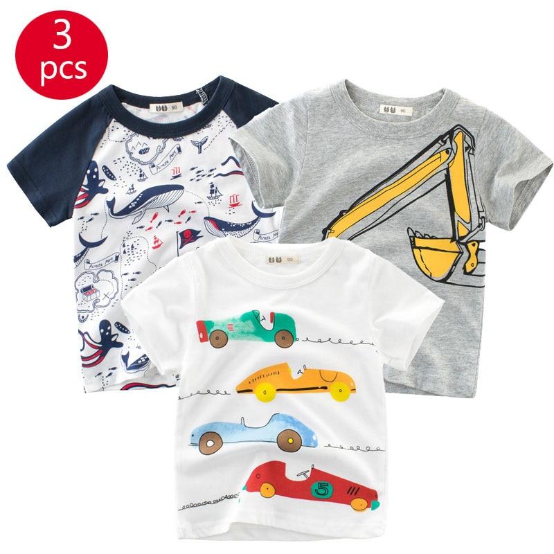27kids 3pcs/lots 27kids 3pc Dinosaur Pattern Boys T Shirt for Kids Baby's Tops t-shirt Cotton Children Short Sleeve Clothes 6