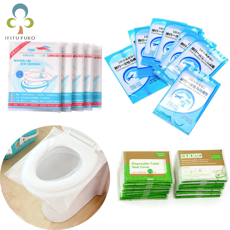 5Packs=50Pcs Disposable Toilet Seat Cover Mat Portable Waterproof Safety Toilet Seat Pad Travel/Camping Bathroom Accessories ZXH